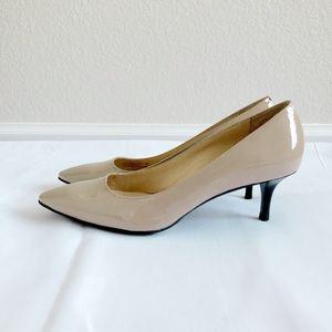 Elegant Cole Haan Beige Tan Nude Leather Heels Pumps